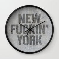 tupac Wall Clocks featuring New York by Text Guy