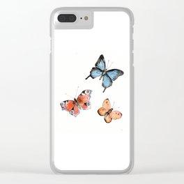 Watercolor Butterflies Clear iPhone Case