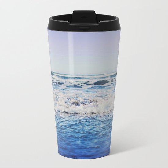 Indigo Waves Metal Travel Mug