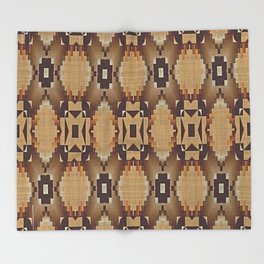 Khaki Tan Orange Dark Brown Native American Indian Mosaic Pattern Throw Blanket