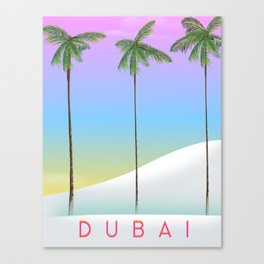 Dubai desert and palms travel poster Canvas Print