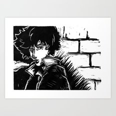 Spike Lino Block Art Print