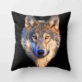 Midnight Wolf Throw Pillow