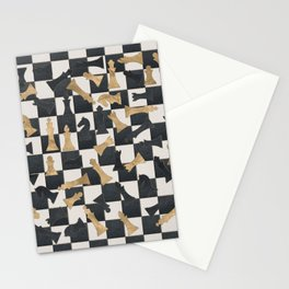 Chess Figures Pattern -Leather and gold Stationery Cards