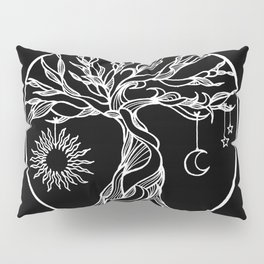 black and white tree of life with hanging sun, moon and stars II Pillow Sham