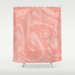 Pantone Living Coral Abstract Fluid Art Swirl Pattern Shower Curtain