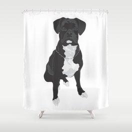 The Black & White Boxer Shower Curtain