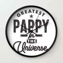 Mens Greatest Pappy in The Universe Grandpa T Shirt Wall Clock