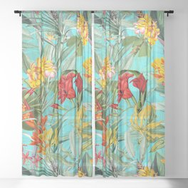 Vintage & Shabby Chic - Colorful Tropical Blue Garden Sheer Curtain