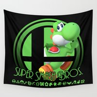 yoshi Wall Tapestries featuring Yoshi - Super Smash Bros. by Donkey Inferno