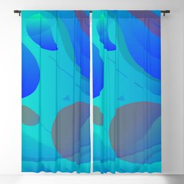 Purple Blue And Green Abstract Design Blackout Curtain
