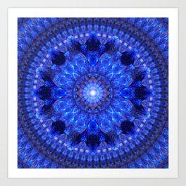 Azure Shield Mandala Art Print