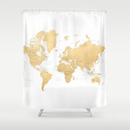 Gold world map with countries and states labelled Shower Curtain