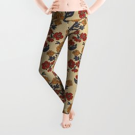 Vintage victorian floral upholstery fabric light background Leggings