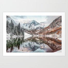 Maroon Bells Mountain Landscape from Autumn to Winter Art Print