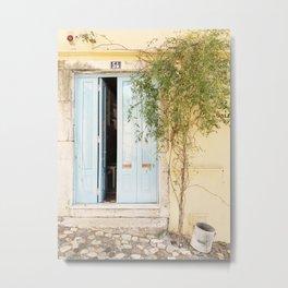 Blue Door Pastel Colored Photo | Portugal Travel Photography | Atmospheric Blue Wooden Door  Metal Print