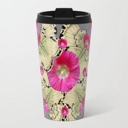 CHARCOAL GREY PINK FLOWERS YELLOW BUTTERFLIES Travel Mug