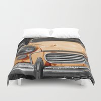 grand theft auto Duvet Covers featuring Orange Auto by Beyond Reason