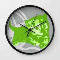 Here Kitty, Kitty - Bright Green/Grey Wall Clock