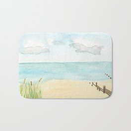 Watercolor beach scene Bath Mat