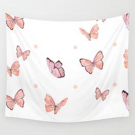 Pink butterflies Wall Tapestry