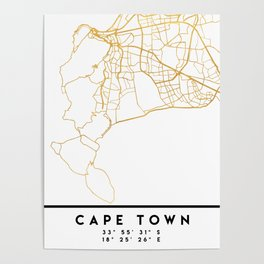 CAPE TOWN SOUTH AFRICA CITY STREET MAP ART Poster