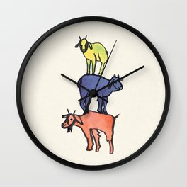 3 Billy Goats Up Wall Clock