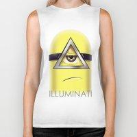 minions Biker Tanks featuring Minions Illuminati by Vincent Trinidad
