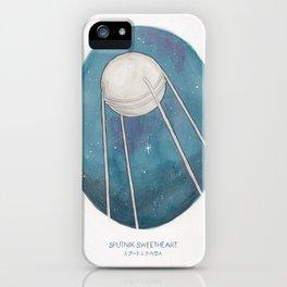 Haruki Murakami's Sputnik Sweetheart // Illustration of the Sputnik Satellite in Space in Pencil  iPhone Case