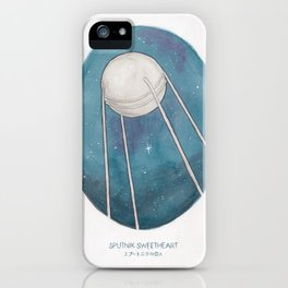 Haruki Murakami's Sputnik Sweetheart // Illustration of the Sputnik Satellite in Space in Pencil  iPhone Case