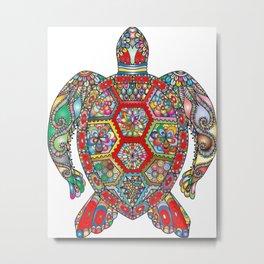 mandala turtle Metal Print