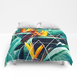 Modern white geometric triangle tropical bird of paradise photography Comforters