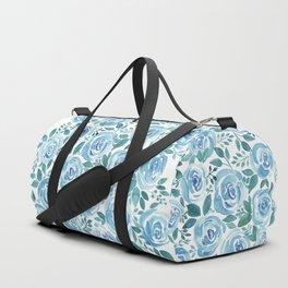 Pale blue roses . Watercolor . Duffle Bag
