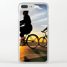Cycling on sunset in Santa Monica, California, USA Clear iPhone Case