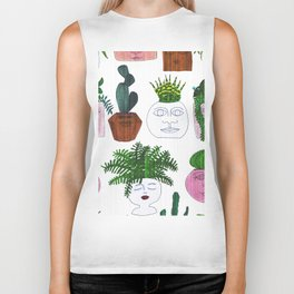 Planter Faces in White Woodgrain Biker Tank