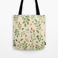 vintage flowers Tote Bags featuring Vintage Flowers by Blue Daydreamer