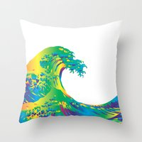 hokusai Throw Pillows featuring Hokusai Rainbow_A by FACTORIE