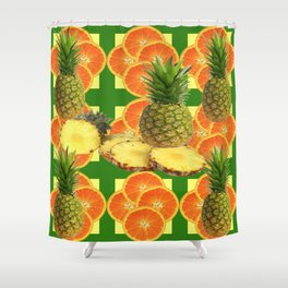 PINEAPPLES & ORANGE FRUIT SLICES  GREEN DESIGN Shower Curtain