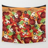 pizza Wall Tapestries featuring Pizza  by Anderssen Creative Imaging