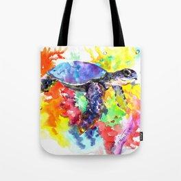 Sea Turtle in Coral Reef design, sea world colorful coral sea world design Tote Bag