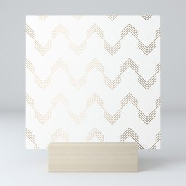 Simply Deconstructed Chevron White Gold Sands on White Mini Art Print