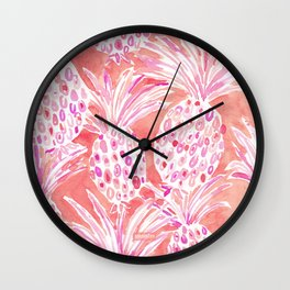 FLESHED OUT Tropical Pink Pineapples Wall Clock