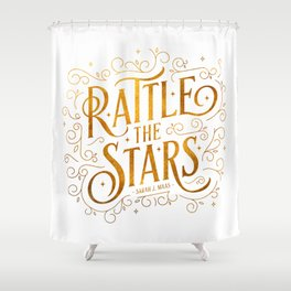 Rattle the Stars - white Shower Curtain