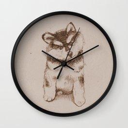 Husky puppy. Sketch. Wall Clock