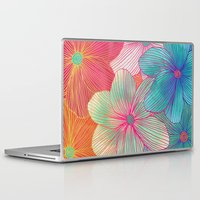 atlanta Laptop & iPad Skins featuring Between the Lines - tropical flowers in pink, orange, blue & mint by micklyn
