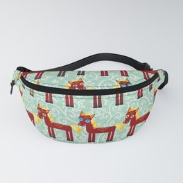 Brown horse on a blue floral background Fanny Pack