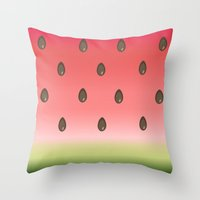 watermelon Throw Pillows featuring Watermelon by Julia Badeeva
