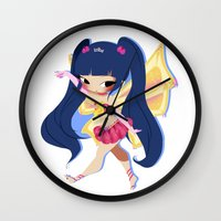 musa Wall Clocks featuring Musa by gillyfleurillustration