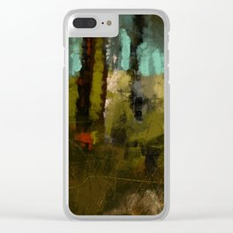 Forest abstract digital illustration texture landscape pattern painting Clear iPhone Case