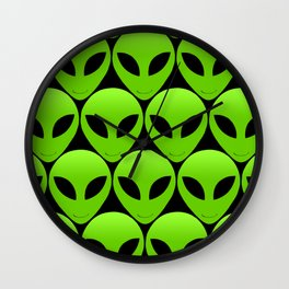 Happy Alien Faces Wall Clock